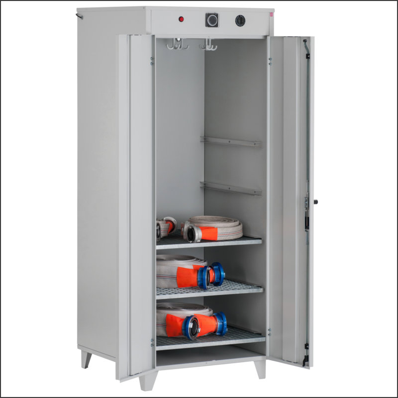Drying cabinet for pressure hoses